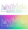kuwait city skyline colorful linear style vector image