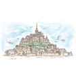 le mont saint michel france hand drawn sketch vector image