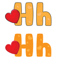 letter H heart vector image vector image