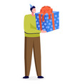 man holding present greeting box with bow vector image vector image