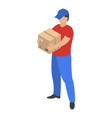 man take delivery box icon isometric style vector image