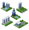 modern city buildings isometric set isolated vector image vector image