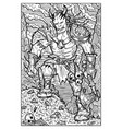 orc troll or goblin engraved fantasy vector image vector image