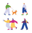 people walking characters with smartphone vector image