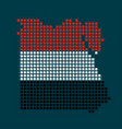 pixel map of egypt with the flag inside vector image