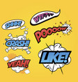pop art word inscriptions set isolated on yellow vector image