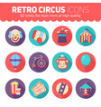 retro circus icons set for web and graphic design vector image