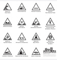 Sea And Beach Caution And Warning Sign Icons Set vector image