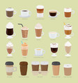 set coffee types and packages coffee menu vector image vector image