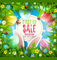 set easter greeting card with hare vector image