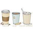 set with hot drinks in paper cups to take away vector image vector image