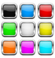 square buttons glass colored icons with chrome vector image vector image