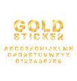 sticker gold font paper golden alphabet curl vector image vector image