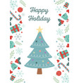 tree lights gifts celebration happy christmas vector image