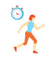 woman running and clock icon vector image vector image