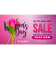 womens day sale design with tulip flower on pink vector image