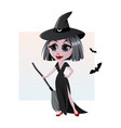 adorable little witch halloween costume vector image