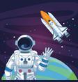 astronaut waving hand spacecraft planet space vector image vector image