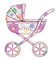 Baby carriage with gradient flowers vector image vector image