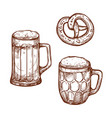 beer pub mugs and pretzel snack sketch vector image vector image