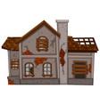 brick house in poor condition vector image vector image