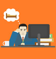 cartoon businessman bored tired at work character vector image