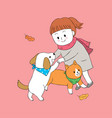 cartoon cute autumn girl and dog and cat playing vector image