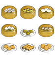 chinese dim sum icons vector image vector image