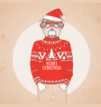 christmas hipster fashion bulldog vector image vector image