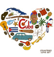 Cuban symbols in heart shape concept vector image vector image