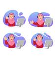 customer care muslim girl vector image vector image
