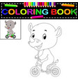 cute happy rhino coloring book vector image vector image