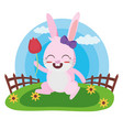 cute rabbit with flower vector image vector image