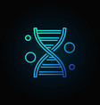 dna line blue icon on dark background vector image vector image