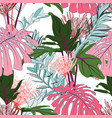 exotic pink monstera and green tropical leaves vector image vector image