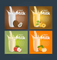 Fruit mix sweet milkshake dessert cocktail vector image vector image