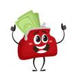 full of money wallet character flat vector image vector image