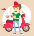 Funny pizza delivery boy in front of red motor vector image