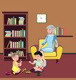 grandmother sitting in chair with kids vector image vector image