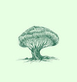 green tree sketch stylized silhouette pattern vector image