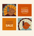 happy thanksgiving modern turkeys and text set vector image vector image