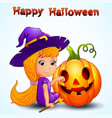 happy witch and pumpkin cartoon vector image vector image