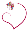 heart with butterfly vector image vector image