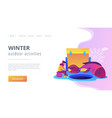 ice fishing concept landing page vector image vector image