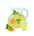 lemonade jug and glass vector image vector image