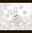 little bunny with a decorated easter egg vector image vector image