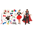 magician set flat isolated vector image