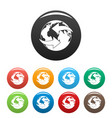 moving earth icons set color vector image vector image