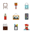 Paint drawing icons set flat style vector image vector image
