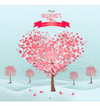 pink heart-shaped trees valentines day vector image
